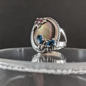 Carolyn Pollack gray mother of pearl ring